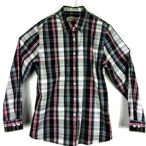 Orvis Men's Pink Grey Black Charcoal Plaid Check L
